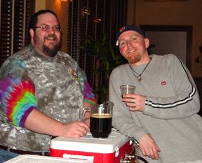 Todd Ashman, left and Pete Crowley, right - with glass - toasting the Festival of Barrel Aged Beers